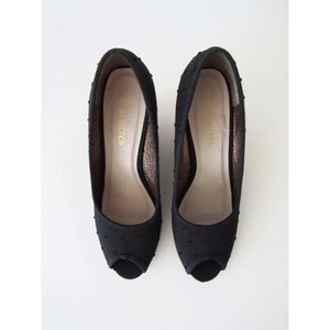 Black Polka Dot, Peep-Toe Cork Heel Size 7.5